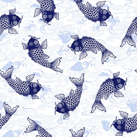 jumping carp: carp pattern Illustration