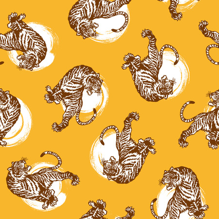 日本タイガー パターン  イラスト・ベクター素材