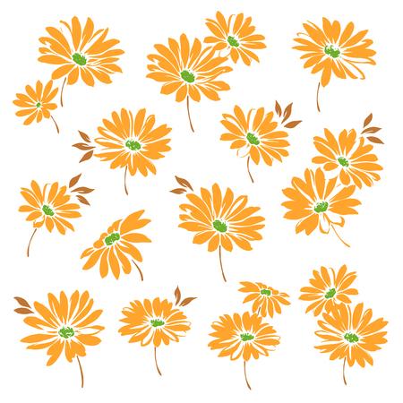 マーガレットの花のイラスト  イラスト・ベクター素材