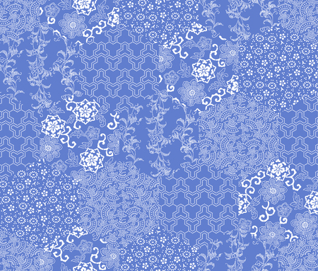 Japanse stijl patroonlapwerk Stock Illustratie