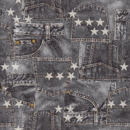 miscellaneous goods: Denim material patchwork