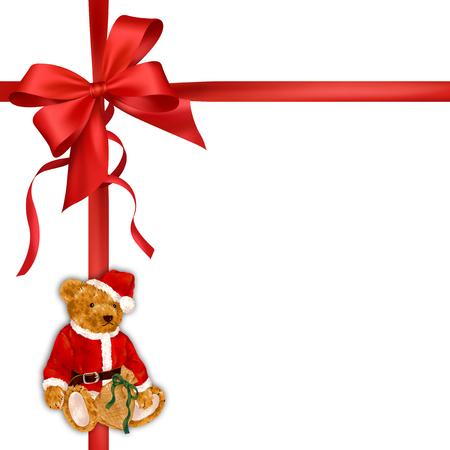 Santa Claus bear ribbon frame