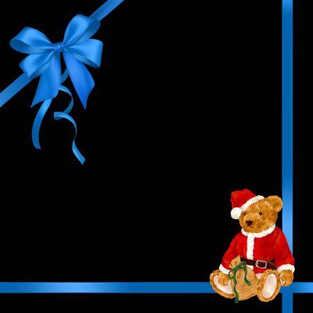 amiability: Santa Claus bear ribbon frame
