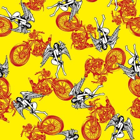 fascinated: pattern in motorcycle and women