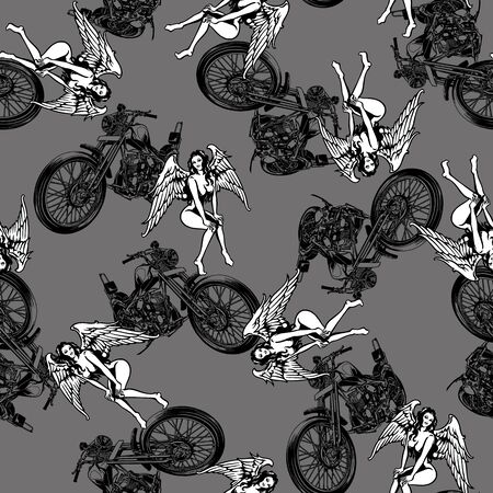 seduction: pattern in motorcycle and women