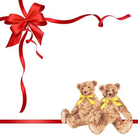 packing tape: Bear ribbon decoration Stock Photo