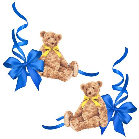 picture card: Bear ribbon decoration Stock Photo