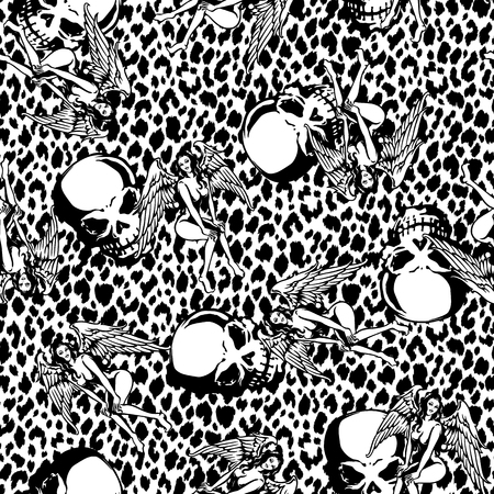 sex appeal: Beautiful woman skull pattern Illustration