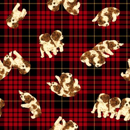 cavalier: Pretty dog pattern Stock Photo