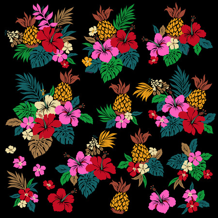 exotic fruit: Hibiscus flower illustration
