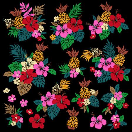 fruta tropical: Ilustraci�n de la flor del hibisco
