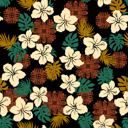 seamlessly: Hibiscus pineapple pattern
