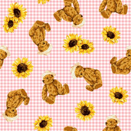 amiability: Bear illustration pattern Stock Photo