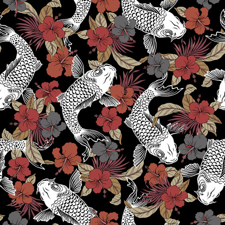jumping carp: Hibiscus carp pattern