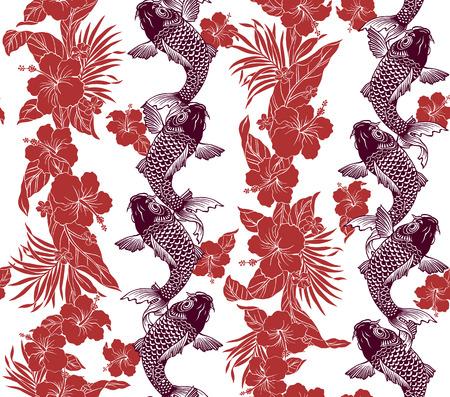 repeat pattern: Hibiscus carp pattern