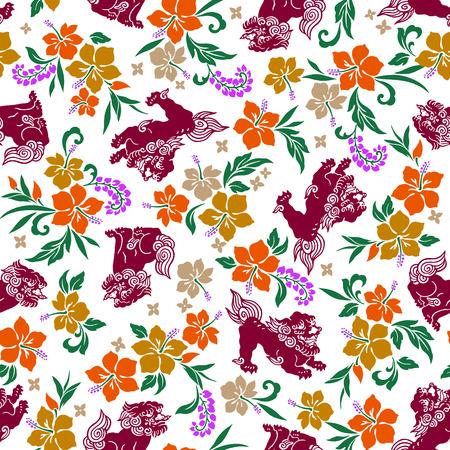 lion dessin: motif de lion Hibiscus Orient