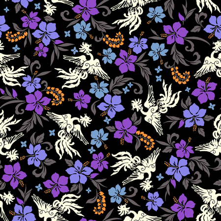 Tropical flower phoenix pattern  イラスト・ベクター素材
