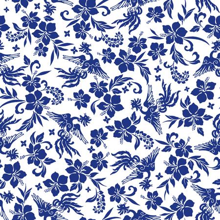 vigorous: Tropical flower phoenix pattern Illustration