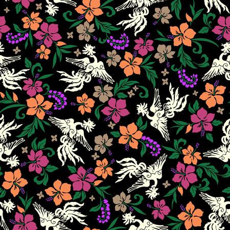 leaf bird: Tropical flower phoenix pattern Illustration