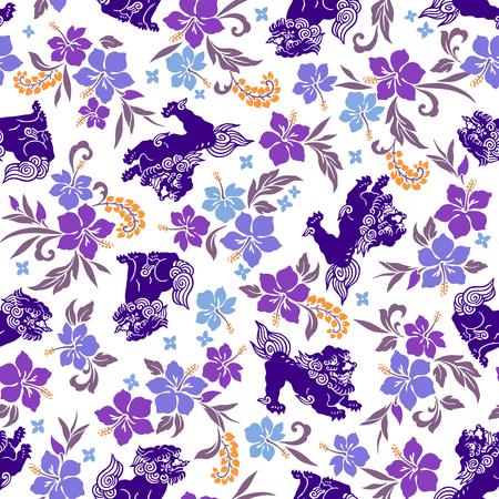 vigorous: Hibiscus Orient lion pattern Illustration
