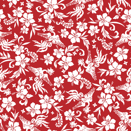 tropical: Tropical flower phoenix pattern Illustration