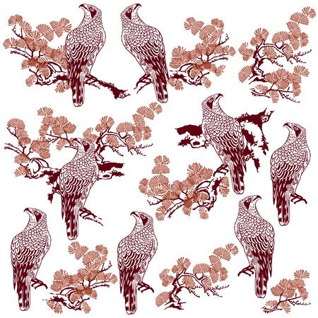 arbol de pino: pintura japonesa halcón de pino