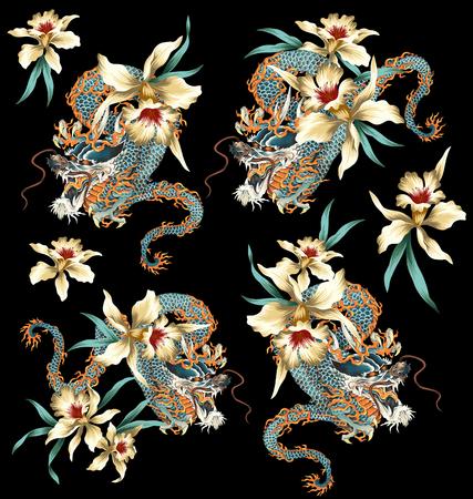 Dragon style japonais fleur tropicale Banque d'images - 52502077
