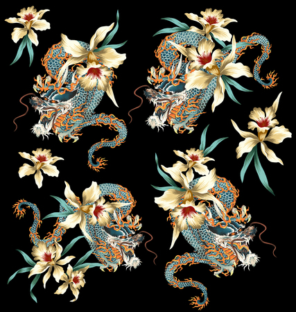 japanese background: Japanese style dragon tropical flower