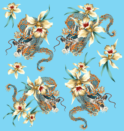 Japanese style dragon tropical flower