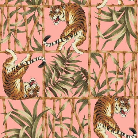 freehand tradition: Tiger jungle illustration pattern