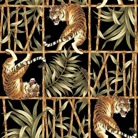 タイガー ジャングル イラスト パターン 写真素材