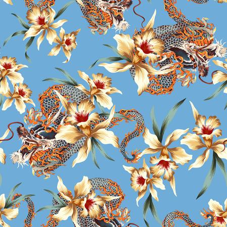 和風ドラゴン熱帯花のパターン 写真素材
