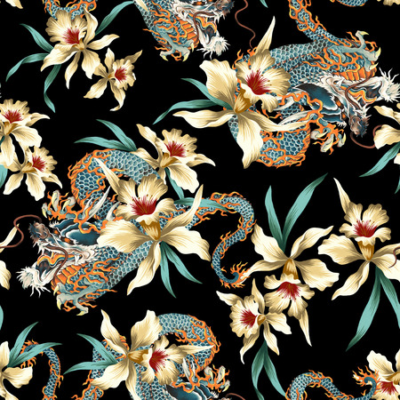 Japanese style dragon tropical flower pattern