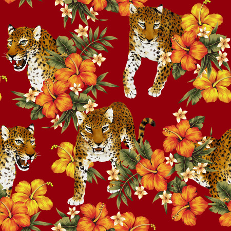 tropical: Tropical flower leopard pattern