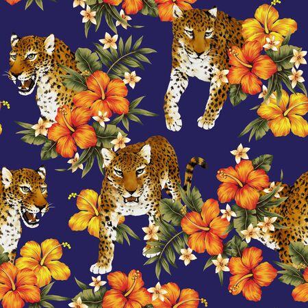 熱帯の花ヒョウ柄
