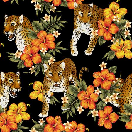 Tropical flower leopard pattern