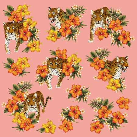 panthera: Tropical flower leopard illustration Stock Photo