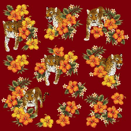berserk: Tropical flower leopard illustration Stock Photo