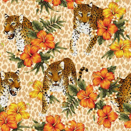 berserk: Tropical flower leopard pattern