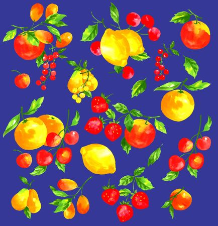 水彩画と果物
