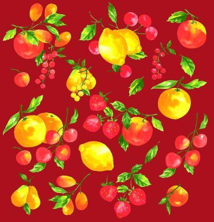 albero da frutto: Frutta con un acquerello