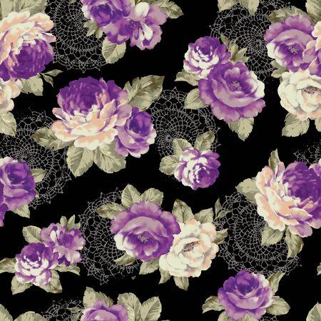 antiquated: Rose illustration pattern