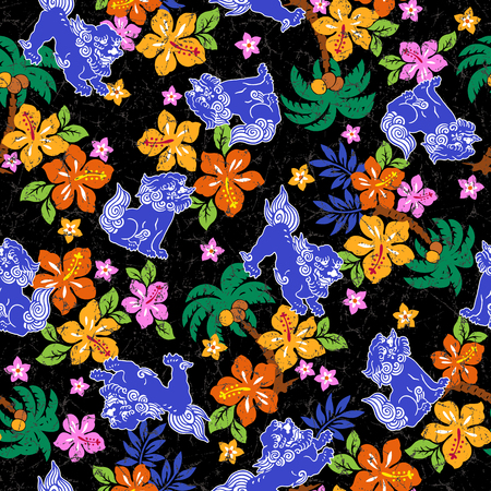 tropical: Tropical flower Orient lion pattern Illustration