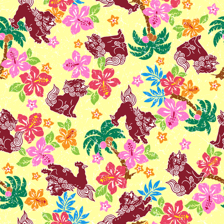 fashion drawing: Tropical flower Orient lion pattern Illustration
