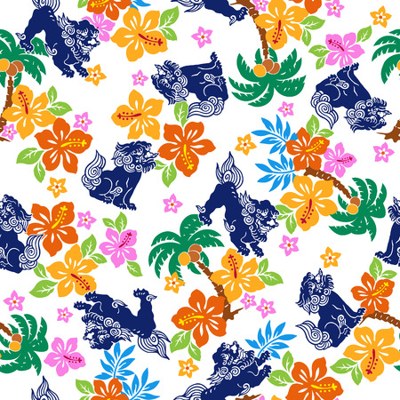 dessin fleur: Fleur tropicale motif de lion Orient Illustration