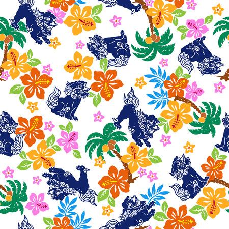 botanical drawing: Tropical flower Orient lion pattern Illustration