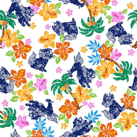 lion dessin: Fleur tropicale motif de lion Orient Illustration