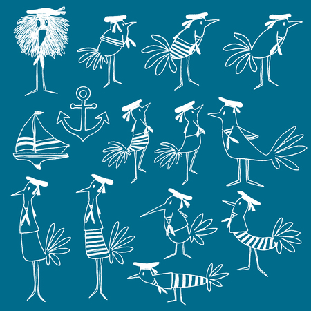 cartoon clothes: Bird illustration comics style