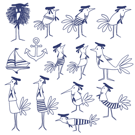 cartoon boat: Bird illustration comics style