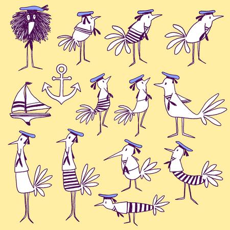 naturally: Bird illustration comics style